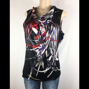 Tahari sleeveless colorful top cowl neck  large